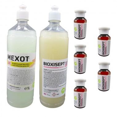 Pachet Geluri Dezinfectante, Pentru Maini, Mexot/Bioxisept 1l Si 5 Geluri Igienizante Bioxisept 100ml